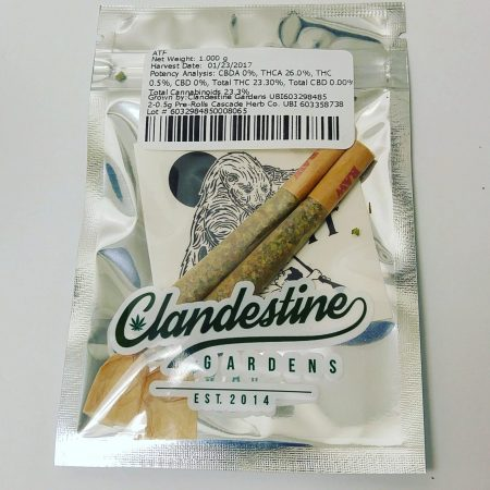 Clandestine 2 pack pre roll Bellingham marijuana pot shop dispensary